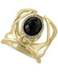 Effy Collection Eclipse By Effy Onyx 3 Ct. T.W. And Diamond 1 10 Ct. T.W. Openwork Geometric Statement Ring In 14K Gold Black