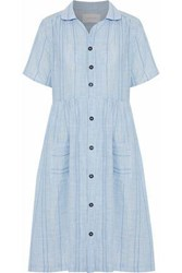 Solid And Striped The Pool Embroidered Cotton Voile Shirt Dress Blue