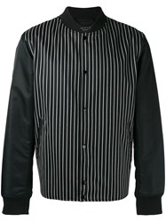 Rag And Bone Striped Bomber Jacket Black