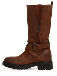 Strategia 80Mm Leather Biker Boots Tan