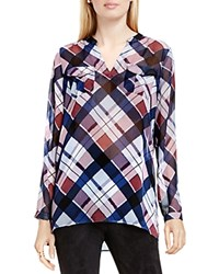Vince Camuto Two By Plaid Fable Split Neck Tunic Harbor Blue