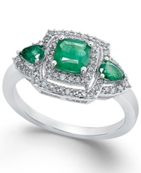 Macy's Emerald 3 4 Ct. T.W. And Diamond 1 3 Ct. T.W. Ring In 14K White Gold Green
