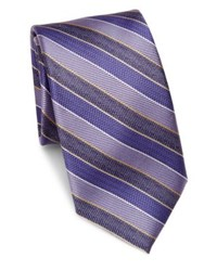 Saks Fifth Avenue Diagonal Striped Textured Silk Tie Red Purple Blue