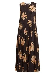 Raey Darted Vintage Floral Print Silk Dress Black Print