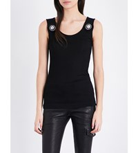 Versus By Versace Lion Crest Knitted Sleeveless Top Black