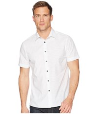 Perry Ellis Short Sleeve Slub Space Dye Shirt Bright White Clothing