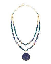 Nakamol Lapis Agate And Pearl Beaded Double