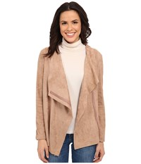 Bobeau Waterfall Faux Suede Jacket Blush Women's Coat Pink