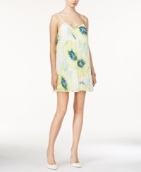 Guess Temperly Printed Pleated Shift Dress Summer Blooms True White