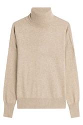 Closed Turtleneck Pullover With Wool Beige