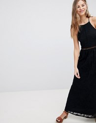 Hollister Sheer Lace Maxi Dress Black