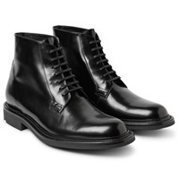 Saint Laurent Polished Leather Boots Black
