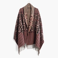 Madewell Cape Scarf In Geo Print Hthr Toffee