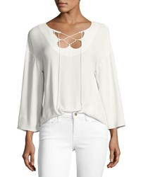 Frame Mirrored Lace Up Blouse Off White