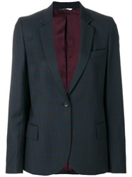 Paul Smith Ps By Plaid Blazer Acetate Viscose Wool Blue