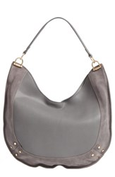 Sole Society Suede Trim Faux Leather Hobo Grey