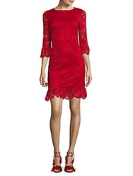 Donna Ricco Bell Sleeve Lace Dress Red