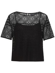 Tommy Hilfiger Jules Cotton Lace Top Jet Black
