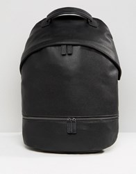 Asos Backpack In Faux Leather With Zip Pocket Black