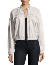 Rebecca Taylor Zip Front Lamb Leather Bomber Jacket Light Gray