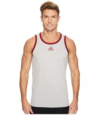 Adidas Heathered Tank Grey Two Collegiate Burgundy Men's Sleeveless White