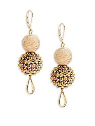 Saks Fifth Avenue Crystal And Fabric Double Drop Earrings Natural Brown