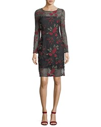 Cupcakes And Cashmere Zabrina Floral Embroidered Cocktail Dress Black