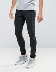 Asos Extreme Super Skinny Jeans With Leather Look Biker Panels Light Blue Black