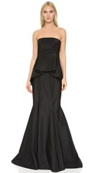 J. Mendel Strapless Gown With Peplum Detail Noir
