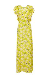 Rochas Crepe De Chine Flower Dress Yellow
