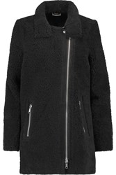 Joie Blaise Paneled Shearling And Ribbed Knit Wool Coat Black