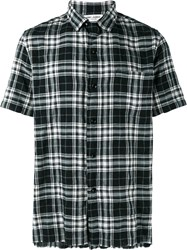 Saint Laurent Short Sleeved Checked Shirt Black