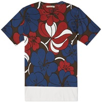 Marni Oriental Flower Print Tee White And Navy