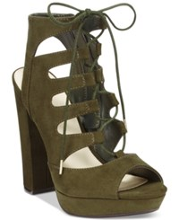 Bar Iii Nelly Lace Up Block Heel Pumps Only At Macy's Women's Shoes Olive