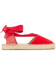 Soludos Bow Detail Espadrilles Women Suede Straw Canvas Rubber 7 Red