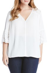 Karen Kane Plus Size Women's Lace And Gauze Flare Sleeve Top