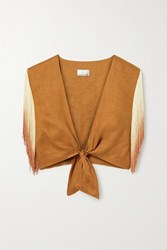 Miguelina Sheena Cropped Tie Front Fringed Linen Top Light Brown