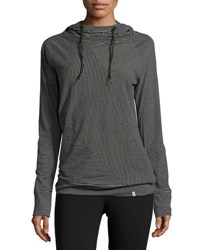 Marc New York Spliced Stripe Hooded Top Black