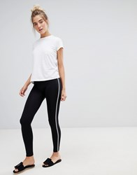 Qed London Basic Leggings With Black And White Piping Black White