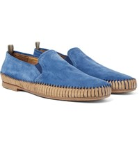 Officine Creative Maurice Shirred Suede Loafers Azure
