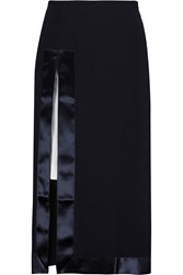 Iris And Ink Satin Trimmed Crepe Midi Skirt