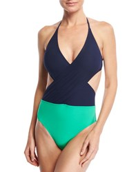 Tory Burch Colorblock Wrap Front One Piece Swimsuit Multi
