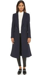 Dkny Long Sleeve Double Breasted Notch Collar Coat Perfect Navy