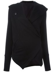 Ann Demeulemeester Hooded Wrap Cardi Coat Black