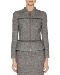 Agnona Stretch Wool Zip Front Jacket Gray
