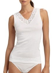 Hanro Moments V Neck Tank Top White Black