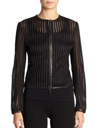 Ralph Lauren Striped Leather Trim Jacket Black