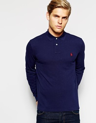 Polo Ralph Lauren Long Sleeve Polo Shirt In Custom Fit Blue