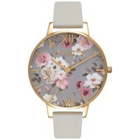 Olivia Burton Ob16fs81 Women's Flower Show Big Dial Leather Strap Watch Grey Gold