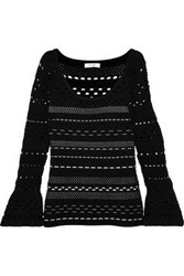 Milly Ribbed Open Knit Jacquard Sweater Black
